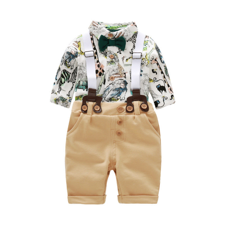 Fashion Casual Newborn Baby Boy Clothes MY First Formal Romper Jumpsuit Bodysuit +Stripe Pants 2Pcs Outfits Animal Printing 24M-eosegal
