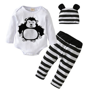 2018 Autumn New Baby Boy Clothing Set Fashion Cotton Long-Sleeved Cartoon Romper+Pants+Hat 3pcs Newborn Baby Girl Clothes Outfit-eosegal