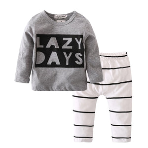 2018 Autumn Fashion Newborn Baby Boy Clothes Cotton Long sleeve Letter LAZY DAYS T shirt+Pants 2 Pcs Outfits Infant Clothing Set-eosegal