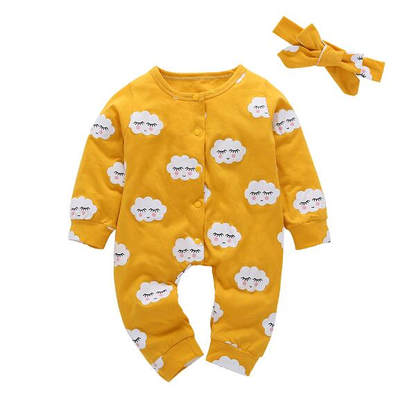 2018 Fashion baby boy girl clothes yellow baby rompers Long sleeve newborn Infant jumpsuit Cloud pattern baby clothing Outfits-eosegal