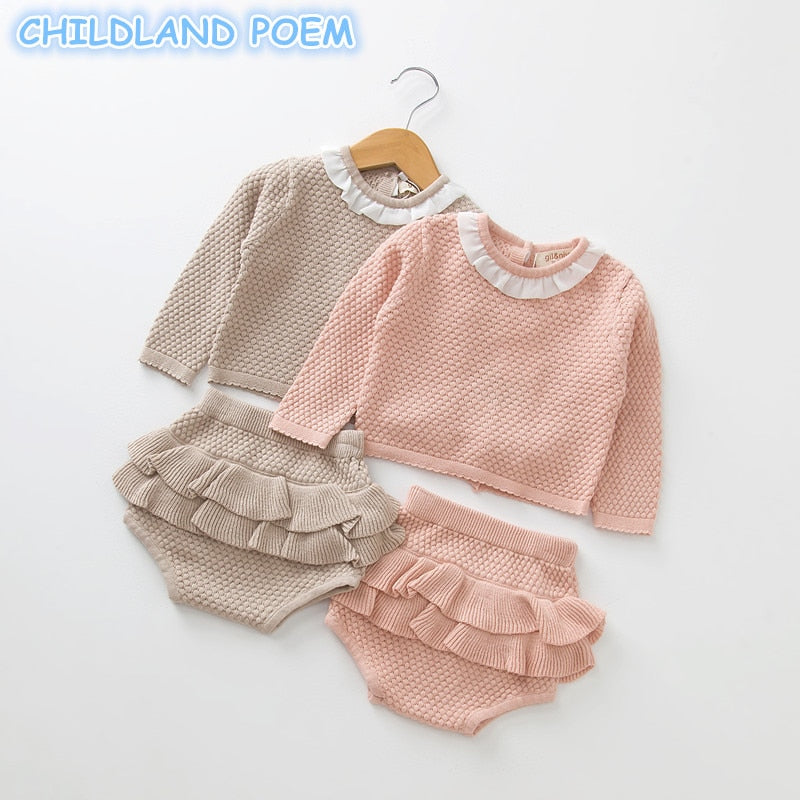 Baby Girls Boys Clothing set Knitted Newborn Baby Clothes Sweater + Shorts 2 pcs Outfits Ruffle Spring Winter Toddler Baby Set-eosegal