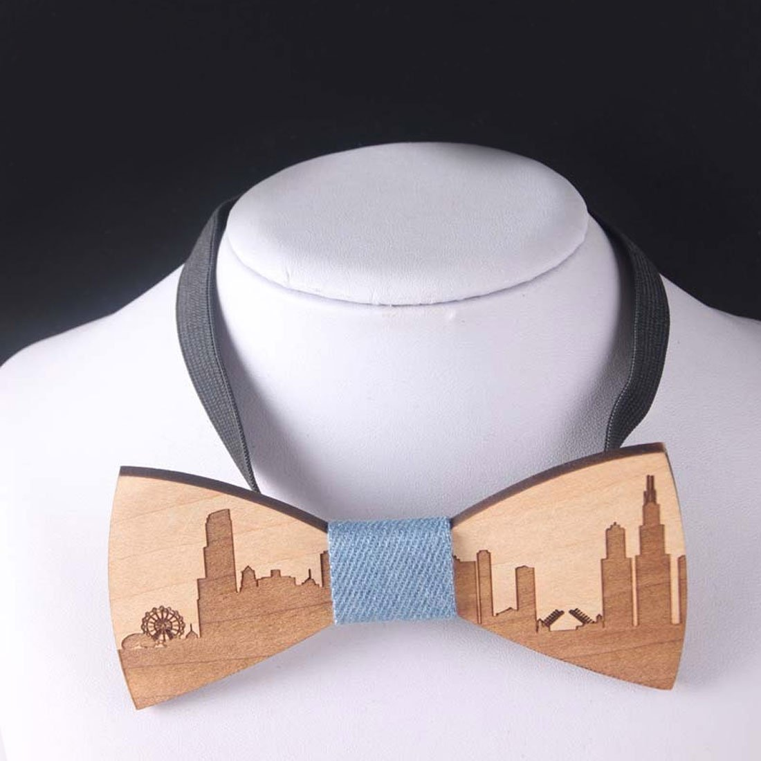Charming Wedding Bow Tie Wooden Butterfly City Skyline For Men's Suit Shirteosegal-eosegal