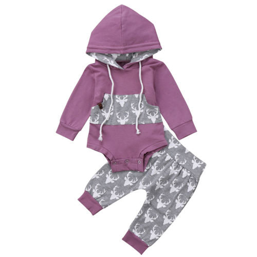 Newborn Baby Boy Girl Deer Romper Hooded Tops Pants 2Pcs Outfits Set Clothes-eosegal