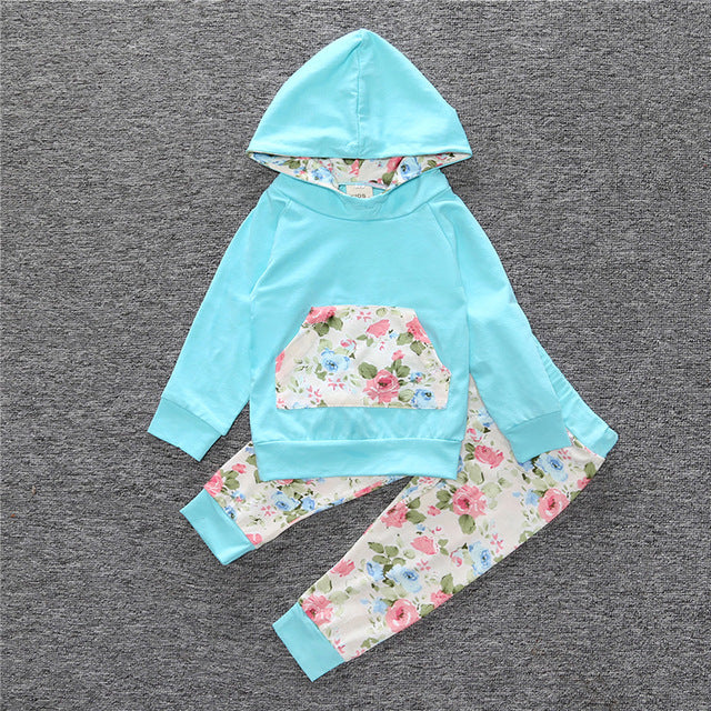 2018 Hot baby Autumn new baby boy clothes Children Baby Girls Long Sleeve Hooded Tops Floral pants 2 pcs. clothing set SY188-eosegal