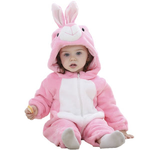 Flannel Cute Cartoon Animal Baby Jumpsuits for Infants Newborn Rompers Boys Girls Toddler Hooded Clothing 0-24M-eosegal