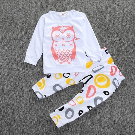 2018 New Fashion baby boy girl clothing set cotton letter long-sleeved T-shirt + Striped Pants Baby Clothing Set SY106-eosegal
