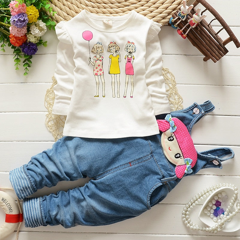 BibiCola baby girl clothes sets Autumn&spring Fashion cotton Cartoon cat T-shirt+pants newborn baby girls clothing set-eosegal