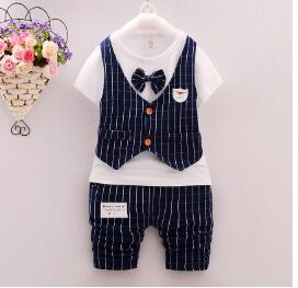 BibiCola Fashion Party Wedding Baby Boys clothing sets Children's Stripe shirt + Plaid Pants 2pcs Suit Toddler tracksuits-eosegal