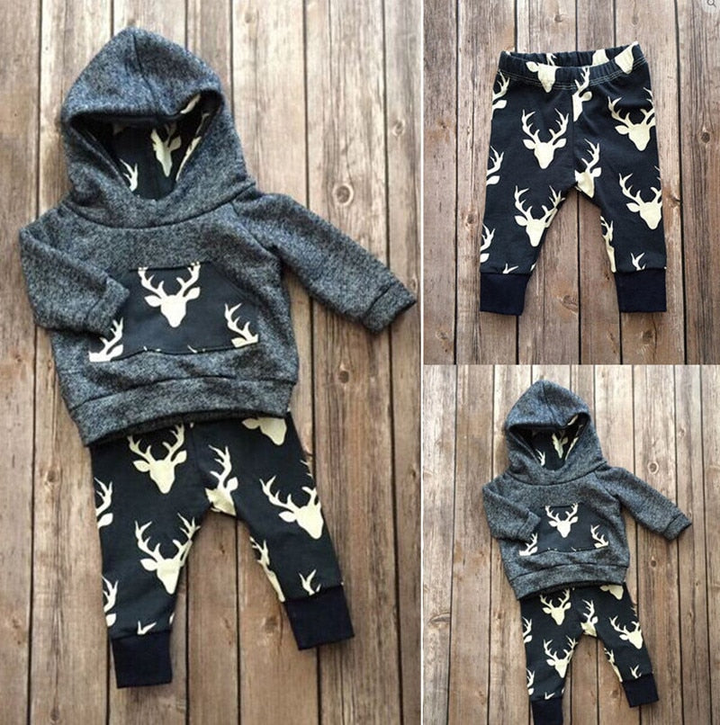 2018 autumn baby Boys clothes cotton long sleeve Deer hoodie coat+pants kids 2pcs suit baby boy clothing sets infant clothing-eosegal
