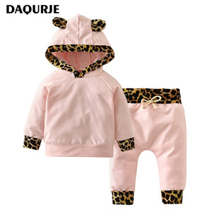 Newborn Baby Girls Boy Clothes 100% Cotton Long-Sleeved Hooded T-Shirt+Pants Infant Baby Clothing Sets Kids Children Costume-eosegal