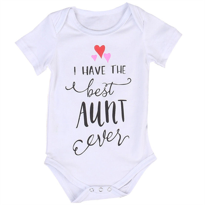 I HAVE THE BEST AUNT Newborn Infant Baby Boy Girls Kids Cotton White Jumpsuit 2017 New Summer Bodysuit Clothes Outfit-eosegal