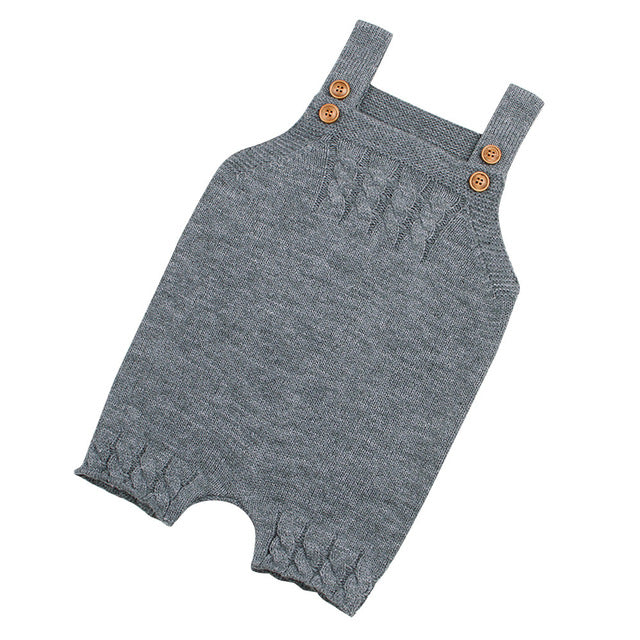Colors knitted Romper Toddler Newborn Baby Boys Girls Strap Buttons Solid Rompers Jumpsuit Outfits Casual Daily Home Warm-eosegal