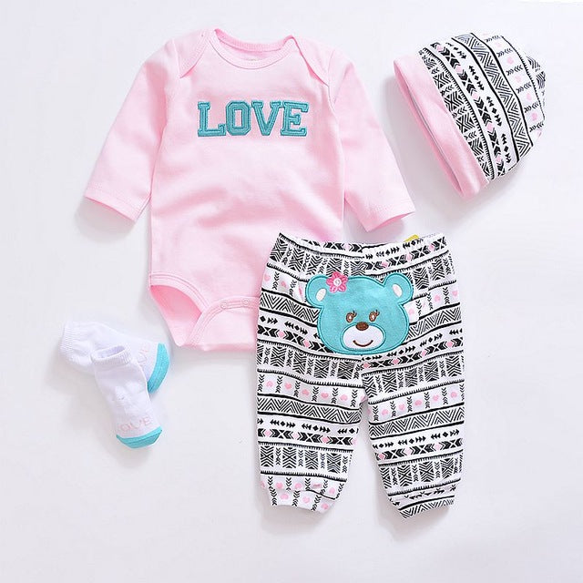 Baby Clothing Sets New Newborn Boy Girl Clothes Set Cotton Long Sleeves Babywear Hat+T-shirt+Pants+Socks Jumpsuits Infant Outfit-eosegal