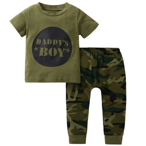 2018 New style baby Boys Girls Clothes set short sleeve letter print T-shirts camouflage Pants Headband Newborn Infant clothing-eosegal
