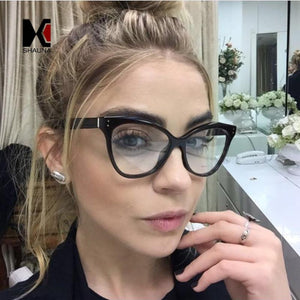 Oversize Women Cat Eye Glasses Frame Fashion Nail Decoration Ladies Cleareosegal-eosegal