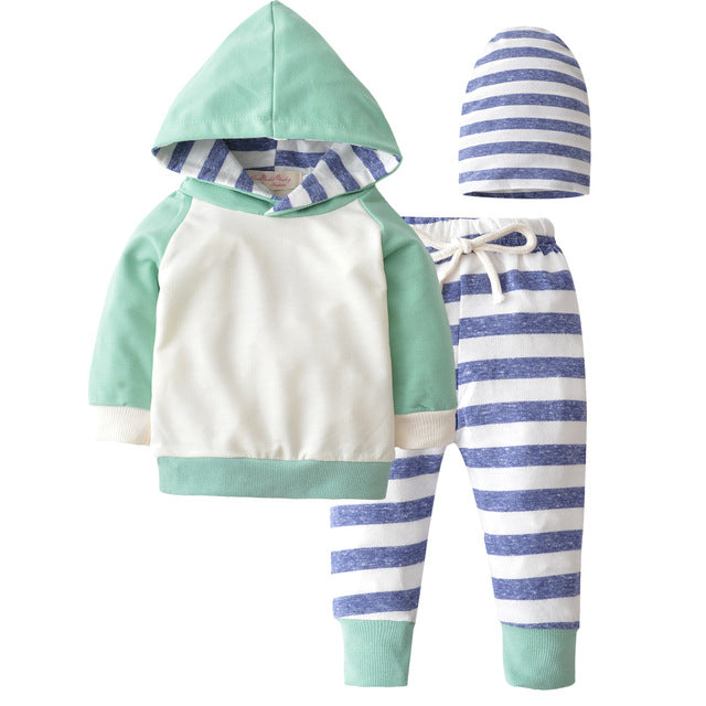 2018 New Style Baby Clothing Set Long Sleeve Hooded Stripes Tops+pants 3pcs/suit Outfits Newborn Baby Boy Girl Clothes Set-eosegal