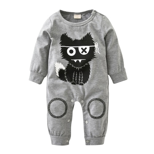2018 New Newborn Clothes Little Monsters Baby Boy Girl Romper Long Sleeve One Piece Suit Baby Clothing Jumpsuit Infant Outfits-eosegal