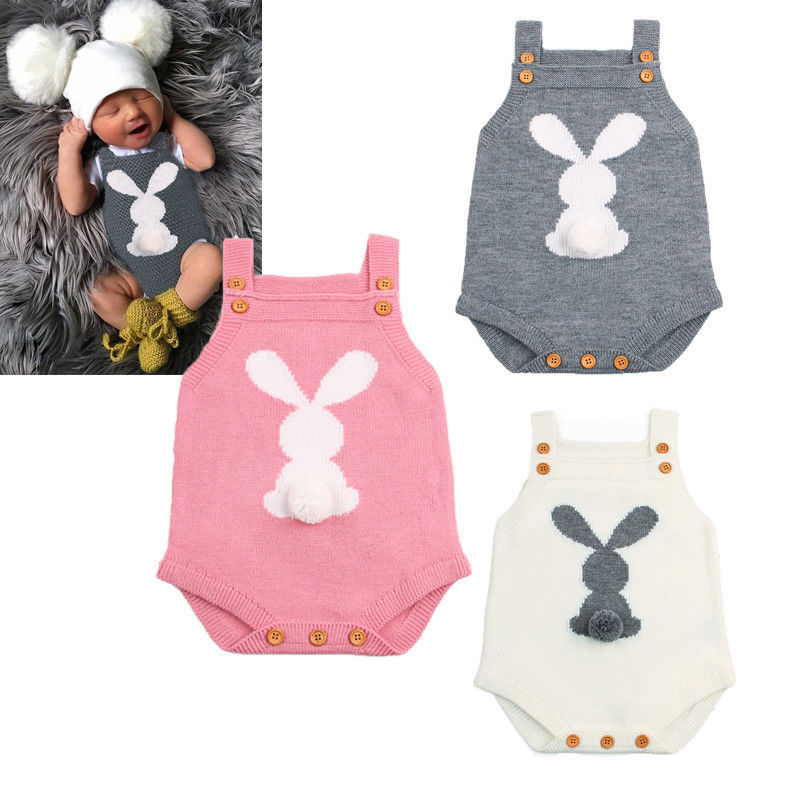 Newborn Baby Rompers Clothing Boys Girls Bunny Knitting Wool Romper Sleeveless Jumpsuit Outfits Cute Baby Clothes-eosegal