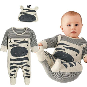 2018 New Autumn Baby Boy Clothes Set Baby Boy Zebra Gray Cotton Long-Sleeved jumpsuit Newborn Rompers+Hat Baby Clothing Set-eosegal