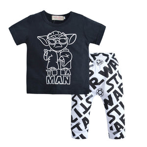 2018 summer fashion baby boy clothing set short sleeve black baby boys clothes star wars t-shirt+pants newborn 2pcs suit-eosegal