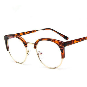 women's eye glasses frame men Vintage metal round half framed Brand designeosegal-eosegal