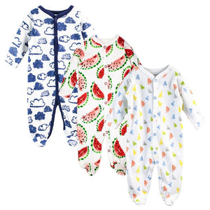 3 Pcs/lot Baby Romper Long Sleeves 100% Cotton Comfortable Baby Pajamas Cartoon Printed Newborn Baby Boy Girl Clothes-eosegal