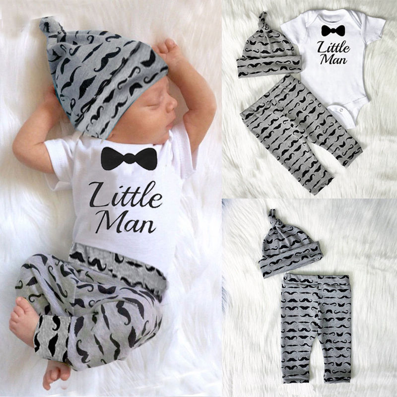 2017 Baby Clothing Sets 0-18M 3pcs Autumn Baby Boys Clothes SET Infant Baby Mini Tops T-shirt+Pants+hat 3pcs Outfits Set-eosegal