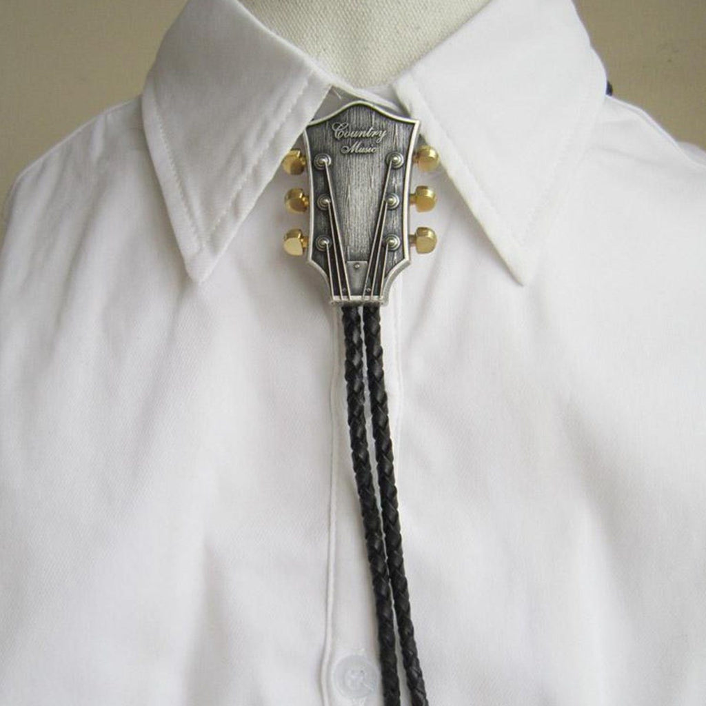 Men Fashion Bolo Tie Cowboy Male Accessories Black PU Leather Bolo Tieeosegal-eosegal