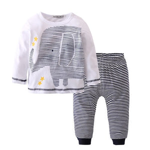 New 2018 Fashion Baby Boy Clothes Baby Clothing Cotton Long sleeve Elephant T-shirt+Pants 2/Pcs Newborn Baby Romper Roupas de-eosegal