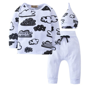 Cute Toddler Newborn Infant Baby Boys Girls Clothes Sets Tops T-Shirts Long Sleeve Pants Hat 3pcs Cotton Outfits Clothing Sets-eosegal