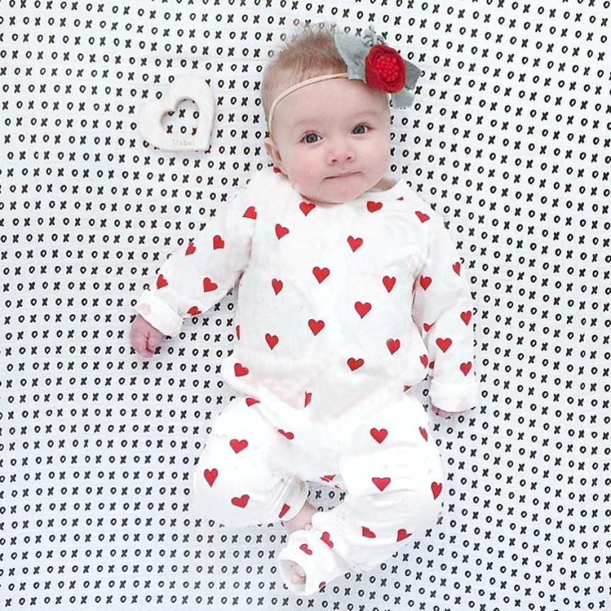 3M-18M Infant Newborn Toddler Baby Girls Boys Clothes Long Sleeve Hearts Print Rompers Jumpsuit Outfit Autumn Winter Clothes-eosegal