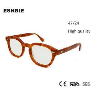 47mm High Quality Johnny Depp Glass Eyewear Frames Men Vintage Roundeosegal-eosegal