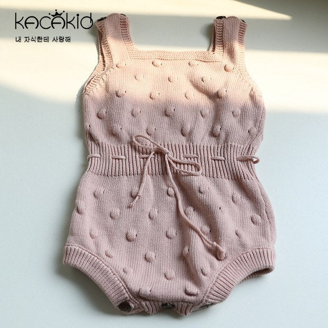 KACAKID Knitted Baby Boy Girls Bodysuits Cute Dots Pattern Children Kids Baby Girls Boy Bodysuit Comfort Knitted Bodysuit ka3356-eosegal