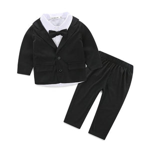2015 Spring Kids Clothing Set Boy clothing set's Children's Fashion Tie Plaid suit Boys Clothes baby Sets Kids set-eosegal
