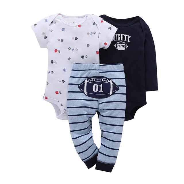 2018 Worsted Animal New Real Boys Suits Baby Clothing 3-pieces Newborn Girl Set Short Sleeve O-neck Children 100% Cotton Sets-eosegal