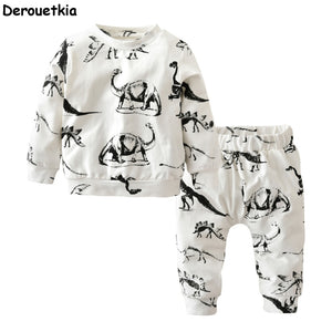 2018 autumn baby boy clothes long sleeve dinosaur printed tops+pants toddler newborn infant sport suit baby girl clothing set-eosegal