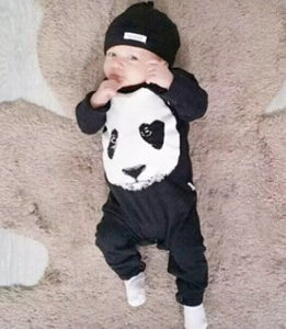 New 2018 autumn spring baby boy girl rompers fashion cotton black long sleeve panda pattern newborn neutral baby clothes-eosegal