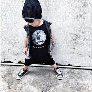 Summer 2018 baby boy clothes cotton sleeveless To The Moon printed baby rompers baby girl clothing newborn infant jumpsuits-eosegal