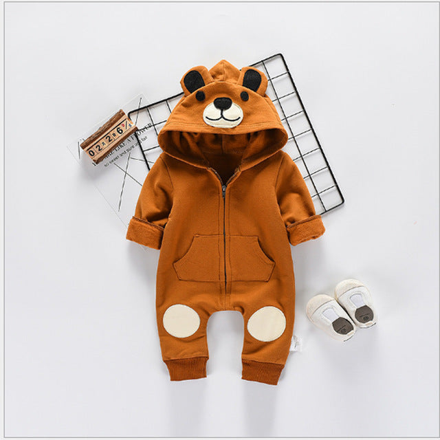 Baby Bodysuits Girls Clothes Boys 2018 Fashion Cute Animal Bear One-Pieces Body Wool Hooded Newborn Baby Clothing Sets Bo047-eosegal