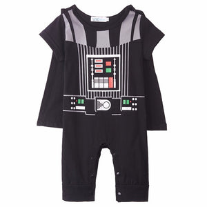 Baby Boy Darth Vader Costume Romper Infant Star War Jumpsuit Toddler Clothes Set With Cape Clothing New Year Costume For Newborn-eosegal