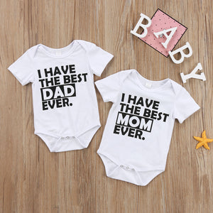 2017 Newborn Infant Baby Boy Girl Cotton Short Sleeves Letters Best Dad Mom Bodysuit Clothes Outfits Cool Summer set 0-18M-eosegal