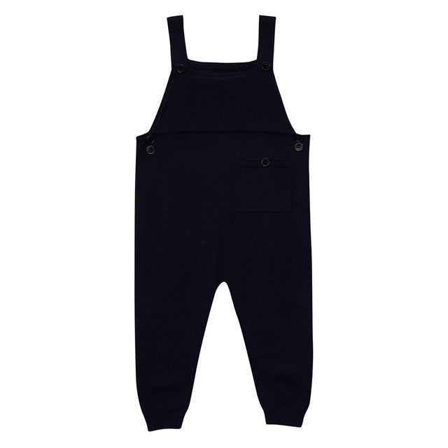 Newborn Toddler Kids Baby Boys Girls Knitted Overalls Strap Rompers Jumpsuit Outfits Sleeveless Pocket Baby Boy Girl Rompers-eosegal