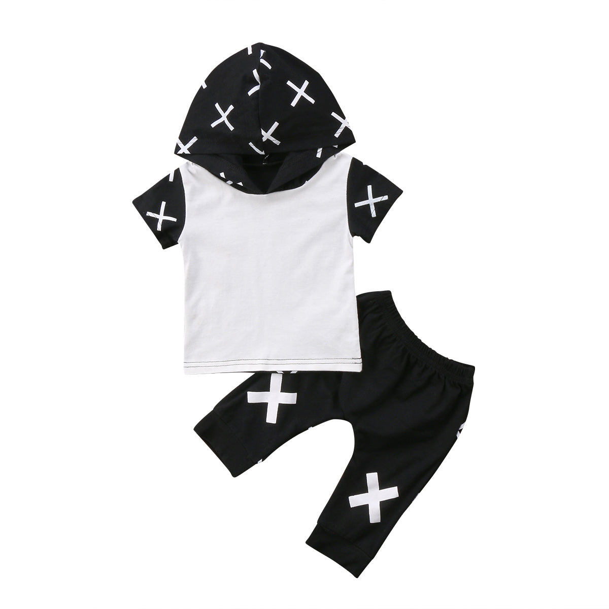 2pcs Newborn Toddler Kid Baby Boy Outfit Hooded T-shirt+Pants Shorts Clothes Set-eosegal