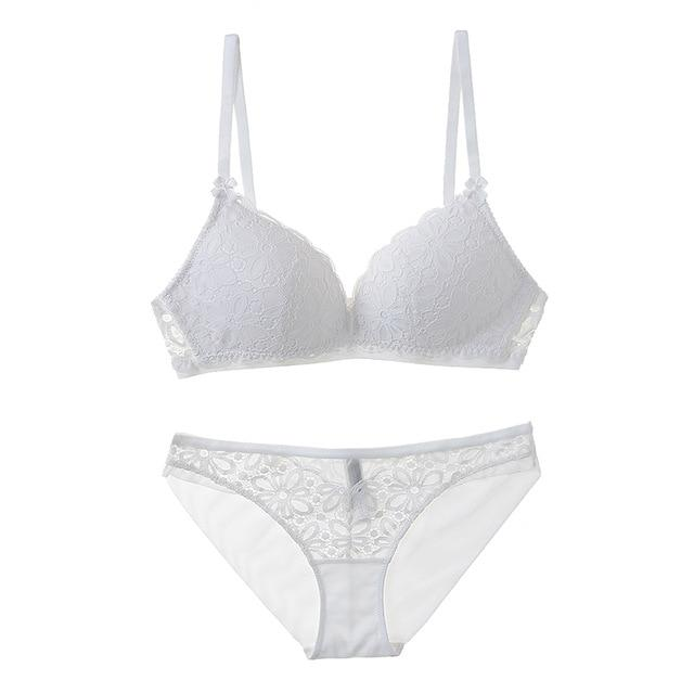 CINOON Sexy Lace Triangle cup Bra Sets For Women Wireless Thin Cotton Breathable Comfortable Underwear Solid color Lingerie Set-eosegal