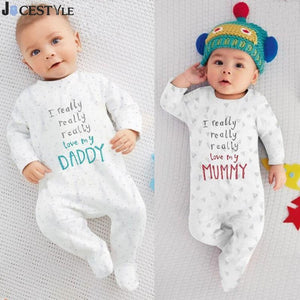 Newborn Baby Rompers Boy & Girl Cotton Long Sleeve Baby Clothes Letter I Love mummy & Daddy Jumpsuit Lucky Child Baby Romper-eosegal