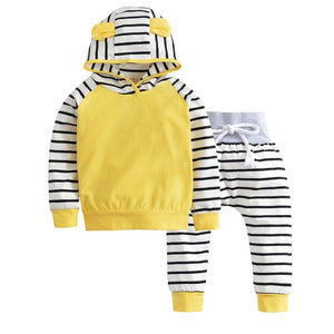 2018 Autumn Baby Boy Clothing Set Long Sleeve Warm Hooded T-shirt+Pants Infant 2pcs/suit Newborn Cute Baby Girls Clothes-eosegal
