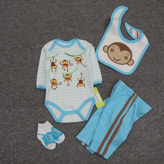 2018 Newborn Baby Boy Clothing Set Unisex Clothes Set Cotton O-Neck Long Sleeves Cartoon Infant Baby Girl Playsuit Ropa BeBeSuit-eosegal