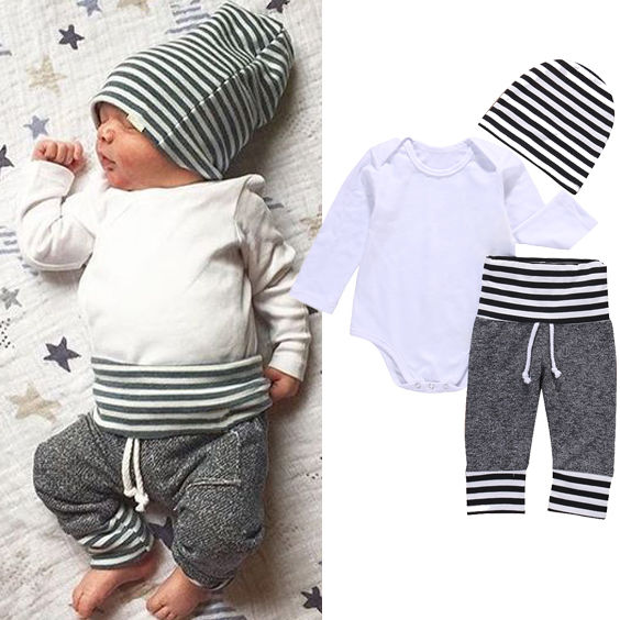 Newborn Toddler Kids Baby Boys Girls Clothes Set Outfit T-shirt Hat Tops Pants 3PCS Casual Set Clothes-eosegal