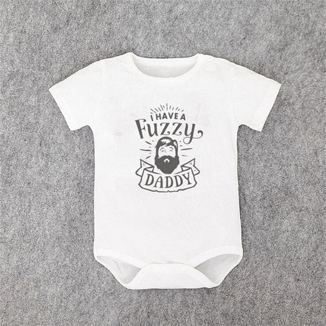 Summer Fuzzy Daddy Baby Bodysuit Newborn Short Sleeve Baby Boy Girl Clothes Toddler Jumpsuit Tiny Cottons Baby Onesies 0-24M-eosegal