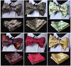 Floral Paisley 100%Silk Woven Men Butterfly Self Bow Tie BowTie Pocket Squareeosegal-eosegal